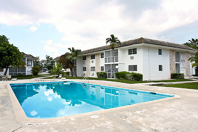 Pool to Bahamas apartment building